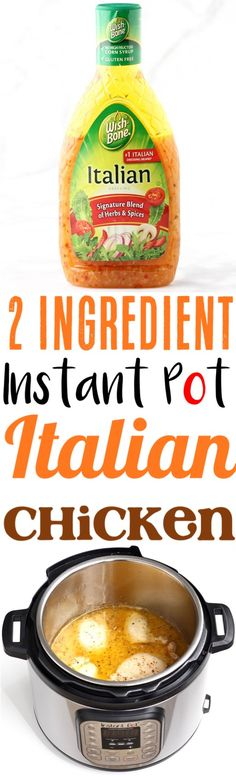 Instant Pot Chicken Recipes | This Simple Italian Chicken is always a family favorite... healthy, low carb and loaded with delicious flavor! Just 2 ingredients!! Add it to your menu this week for the easiest dinner ever!