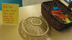 Help the birds build there nest. Weave the materials through the basket-add child made birds or stuffed birds