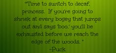 """Iron King (#1, The Iron Fey Series) by Julie Kagawa Quote """"Time to switch to decaf princess, if you're going to shriek at every bogey that jumps out and says 'boo', you'll be exhausted before we reach the edge of the woods."""" - Puck Quote, the start of an incredible journey"""