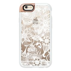 White Floral Lace Drawings- Transparent - iPhone 6s Case,iPhone 6... ($50) ❤ liked on Polyvore featuring accessories, tech accessories, phone cases, iphone case, clear iphone cases, white iphone case, iphone cases, apple iphone cases and iphone cover case