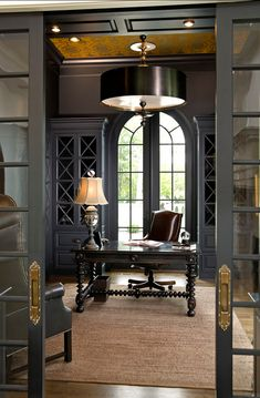 home office/study: greys, brass, natural elements, statement desk…love this grey for built-ins with brass details.
