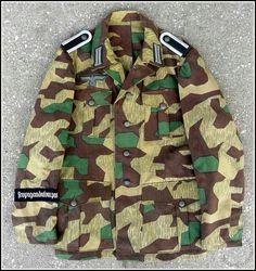 Repro German Army Splinter Pattern Camo NCO Jacket with Insignia Sz. Ww2 Uniforms, German Uniforms, German Soldiers Ww2, German Army, Los Primates, Tactical Wear, Camouflage Patterns, Army Camo, Camouflage