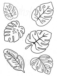 Tropical Greenery - Monstera - Leaves Silk Screen Modern lettering can be easy for everyone! Personalize your projects with Brush Strokes Pottery's Doodle Drawing, Leaf Drawing, Leaf Template Printable, Owl Templates, Heart Template, Applique Templates, Embroidery Patterns, Hand Embroidery, Felt Patterns