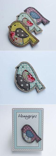 fabric bird brooch by honeypips | notonthehighstreet.com