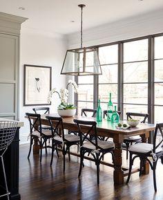 The perfect house.  Not kidding.  Open floor plan.  Dining room.  Windows.  Kitchen.  Via House and Home.  Designer Rachel Fox.