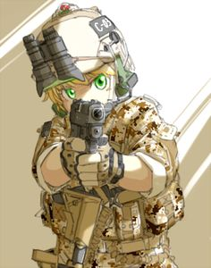assault_rifle blonde_hair camouflage gloves goggles green_eyes gun helmet load_bearing_vest military military_uniform nightvision original pistol rifle rifling shino_(r_shughart) solo weapon Fanarts Anime, Anime Characters, Manga Anime, Anime Military, Military Girl, Fantasy Comics, Anime Fantasy, Guerra Anime, Rainbow Six Siege Anime