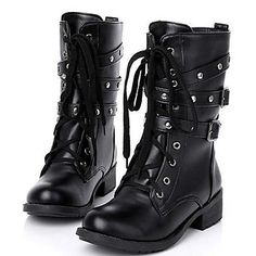 Women's Shoes Round Toe Chunky Heel Mid-Calf Boots – USD $ 17.99