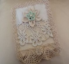 """5"""" x 8"""" Vintage Lace Fabric Tatted Trimmed Journal Notebook Cover Bridal Lace Lover"""