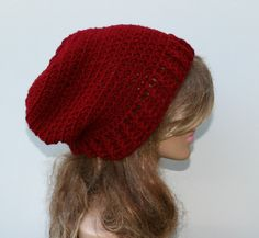 New to PurpleSageDesignz on Etsy: Burgundy red slouchy beanie hipster hat hippie slouchy hat dark red slouch beanie slouch baggy hat vegan hat maroon woman beanie (19.00 USD)