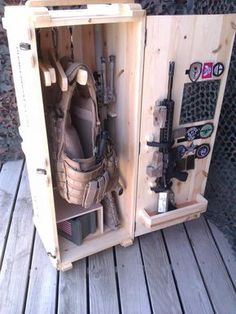 Airsoft hub is a social network that connects people with a passion for airsoft. Talk about the latest airsoft guns, tactical gear or simply share with others on this network Weapon Storage, Gun Storage, Airsoft Storage, Storage Shelves, Storage Ideas, Tactical Equipment, Tactical Gear, Tactical Wall, Diy Wood Projects