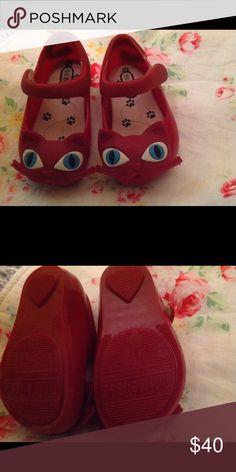 Mini Melissa Red Cats EUC like new! Mini Melissa Shoes