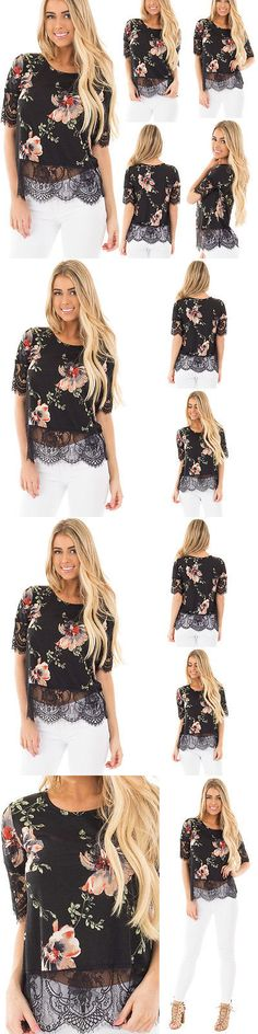 Women Tops Blouses: Women S Clothing Short Sleeve Lace Print Tops Shirt Blouse Ladies Fashion M-Zr4 -> BUY IT NOW ONLY: $2.99 on eBay!