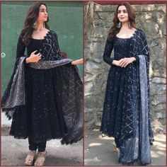 alia bhatt Black georgette partywear anarkali suit - - alia bhatt Black georgette partywear anarkali suit Source by Salwar Designs, Lehenga Designs, Kurti Designs Party Wear, Blouse Designs, Designer Anarkali Dresses, Pakistani Dresses, Designer Dresses, Indian Gowns, Indian Attire