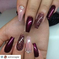 Gelnägel Muster Weinrot … - Most Trending Nail Art Designs in 2018 Fabulous Nails, Gorgeous Nails, Pretty Nails, Perfect Nails, Burgundy Nails, Burgundy Color, Purple And Pink Nails, Deep Burgundy, Vs Pink
