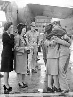Women in WWII ~ Soldier Is Welcomed Home At Long Beach Airport, 1945 ~ BFD