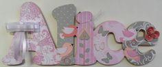 Alice cinza rosa birds porta maternidade | Scrap Name | Elo7