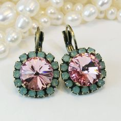 Mint Pink Earrings Swarovski Crystal Drop Earrings Green Pale Pink large Opal Halo Mint Pink wedding Bridesmaids gift ,Brass,Light Rose,BE98