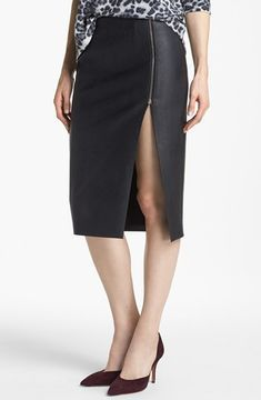Nordstrom Tildon Slit Front Faux Leather Pencil Skirt