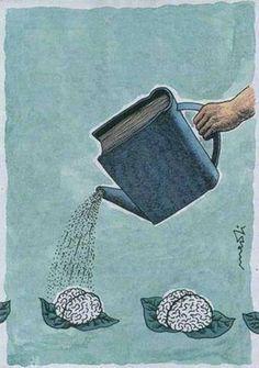 "Leggere fa bene al cervello. (Italian ""Reading is good for the brain. Nuture the brain with good books. Reading benefits the brain. Left brain is smaller then the right. I Love Books, Books To Read, My Books, Free Books, Book Nooks, Love Reading, Reading Books, Reading Art, Reading People"