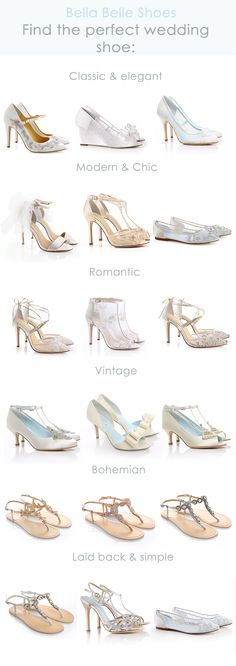 Find your perfect wedding shoe with Bella Belle's ultimate guide. Whether you're a romantic, modern, vintage, boho, classic, elegant, or simple bride, we have the perfect wedding heel, flat, sandals and wedge for you. Lace, sparkles, soft jewels, blush, white, gold or floral, each wedding shoe style is designed to complete your ultimate wedding outfit to transform you into a gorgeous bride for your dream wedding.
