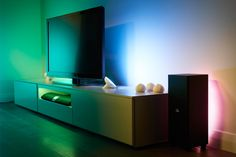 Philips Friends of Hue | The collection consists of two products: LightStrips and the LivingColors Bloom. LightStrips are six-and-a-half-foot long bands of flexible LED lights that can connect to any surface: underneath your couch, along a hallway, or behind a speaker. LivingColors Blooms are standalone bulbs that cast LED light onto your walls. Requires the Philips Hue starter pack ($200) to work. ( $80-$90 )