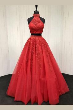 Evening Dresses Red, Two Pieces Evening Dresses, Prom Dresses 2019, Evening Dresses Lace, Lace Red Prom Dress, Evening Dresses Long #EveningDressesRed #TwoPiecesEveningDresses #PromDresses2019 #EveningDressesLace #LaceRedPromDress #EveningDressesLong
