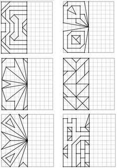 Here is a new geometry file on symmetry: 48 drawings on four-color - Mathe Ideen 2020 Graph Paper Drawings, Graph Paper Art, Math Games, Math Activities, Classe D'art, Cycle 2, Geometric Drawing, Art Worksheets, Math Art
