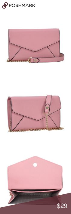 """Envelope Crossbody The perfect envelope Crossbody is luscious light pink with gold hardware and detailing. Interior credit card slits give you easy access to all your necessities, while a magnetic front closure secures your items will stay out. Made of premium vegan leather, with detachable Crossbody strap. Size: 7.5""""x5""""X1.5"""". Brand: MMS Designs MMS Bags Crossbody Bags"""