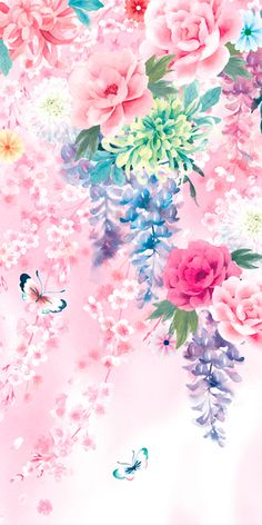 Ideas Wall Paper Floral Watercolor Paintings For 2019 Pretty Backgrounds, Flower Backgrounds, Flower Wallpaper, Mobile Wallpaper, Pattern Wallpaper, Wallpaper Backgrounds, Iphone Wallpaper, Watercolor Flowers, Watercolor Paintings