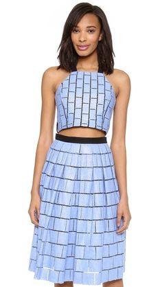 Tibi Raffia Patchwork Crop Top & Skirt