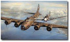 AVIATION ART HANGAR - A Higher Call by John Shaw (B-17 Flying Fortress, Bf109)