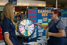 UWindsor students and staff were educated on wellness issues and treated to giveaways at the Health Fair in the CAW Student Centre Commons on Wednesday. Buy this Prize Wheel at http://PrizeWheel.com/products/tabletop-prize-wheels/mini-clicker-prize-wheel/.