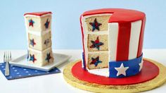 Celebrate the 4th of July with this cake shaped like Uncle Sam's hat that reveals red and blue stars inside!