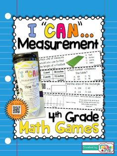 """This """"I CAN"""" Math game covers all standards for MEASUREMENT in 4th grade. Perfect for Guided Math & Test Prep! {Common Core} With QR codes! Paid"""