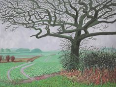 David Hockney (UK b. 1937) The Field Entrance, January 2006  oil on canvas 91.4 x 121.9 cm