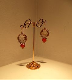 cameo earrings ....silver gold plated...
