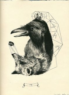The Raven and the Fox - Illustration.