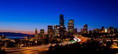 Seattle sunset by Shyama Hembram Seattle Skyline, New York Skyline, Washington State, San Francisco Skyline, Places To See, Vacation, Explore, Sunset, Cityscapes