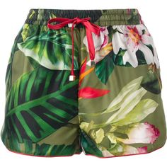 F.R.S For Restless Sleepers floral patterned shorts ($365) ❤ liked on Polyvore featuring shorts, green, green shorts, floral print shorts, flower print shorts, colorful shorts and multi colored shorts