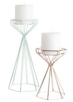 Modern and geometric candle holders? Yes, please! #decor #modern http://www.theperfectpalette.com/2015/11/holiday-gift-guide-rose-gold-gifts-yes.html