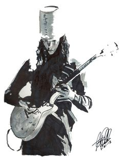 """Buckethead: POSTER from Original Drawing 18"""" x 24"""" Signed & Dated by Artist…"""