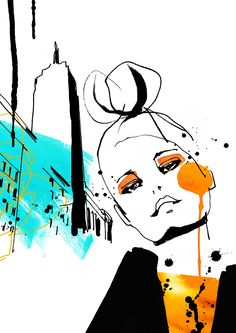This could be a graphic on the wall in the retail store. Fashion Rendering by Cecilia Lundgren