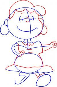 how to draw lucy van pelt from the peanuts gang step 3