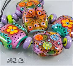 3 dimensional Set of 17 lampwork beads, Flower design in pink, red, coral, turquoise, green by MICHOU