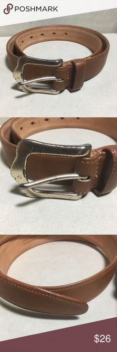 "COACH BRITISH TAN LEATHER BELT - MEDIUM - WOMEN THIS COACH BELT IS IN GREAT USED CONDITION.  THE BUCKLE HAS CHIPPING, BUT THE BELT IS LIKE NEW.  VERY CLEAN. NO STAINS OR SCRATCHES ON THE LEATHER.  ALL STITCHING IS GREAT!.   I THINK NOT SURE IF SHOE REPAIR CAN COAT THE BUCKLE BUT IT COULD GO FOR THAT DISTRESSED LOOK:-)  HARDWARE IS BRASS COLOR.  SIZE:  MEDIUM:  LENGTH OF BELT STRAP IS 34"" FROM BUCKLE ATTACHMENT TO THE END OF BELT.  WIDTH IS 1 1/8"".  GREAT JEAN BELT!  THANKS FOR VIEWING AND…"