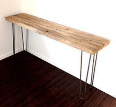 "Rustic Console Table 60"" Wormy Chestnut Topper On Steel Hairpin Legs Coffee Table, End Table, Side Table"