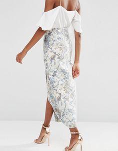 Изображение 2 из Жаккардовая юбка макси с запахом ASOS Premium
