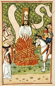 Jan_Hus_at_the_Stake-Hus He was burned at the stake for heresy against the doctrines of the Catholic Church, including those on ecclesiology, the Eucharist, and other theological topics. Reformation Day, Protestant Reformation, Jan Hus, Renaissance And Reformation, Empire Romain, Reformed Theology, Late Middle Ages, Catholic, Death