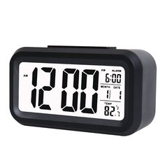 LMTECH Lcd Digital Clock Alarm Clock with Date and Temperature Display,Travel Clock,Desk Clock,Morning Clock with Low Light Sensor (Black) ** Huge discounts available now! : Home Decor Clocks
