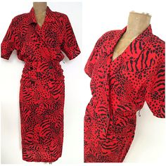 Vintage 80s Ruched Dress Size Large Animal Print Wrap Double Breasted Festive #Unknown #WrapDressSheath #Festive